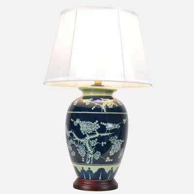 Pair of Blue Blossom Jar Lamps
