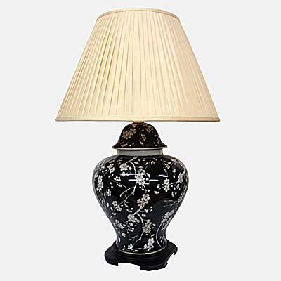 Pair of Jar Lamps With Floral Pattern On Blue/black