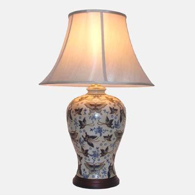 Pair of Vase Lamp In Ivory With Butterflies