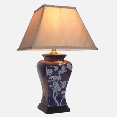 Pair of Purple Floral Lamps