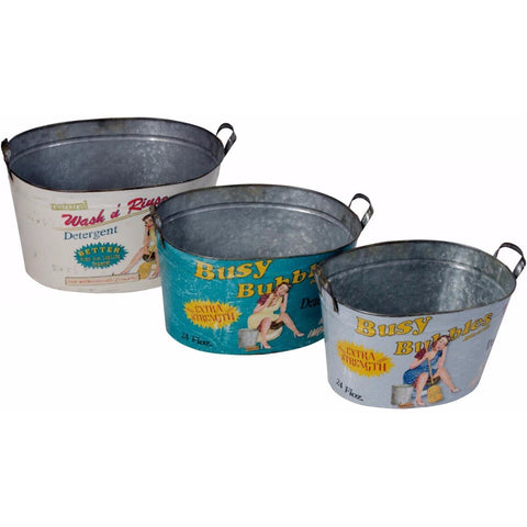 Set of 3 Busy Bubbles Tin Washing Tub