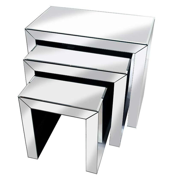 Supreme Mirrored Furniture Nest of Tables Cube design