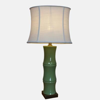 Pair of Green Bamboo Lamps