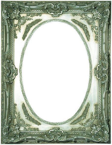 Silver Antique Square Oval Frame