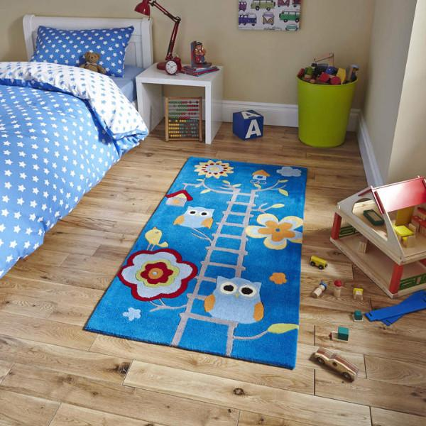 Kids Flowered Owl Rug