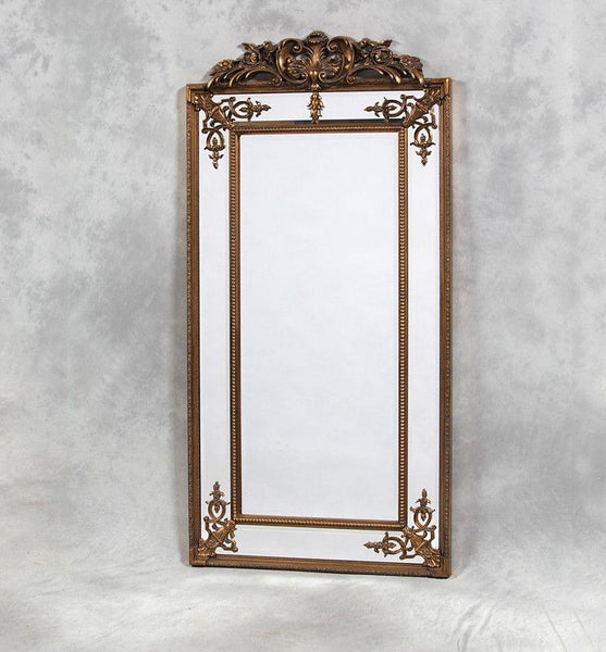 Gold French Crest Mirror