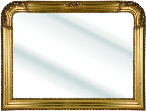 Gold Rounded Corner Over-Mantle Mirror