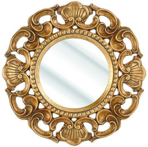 Gold Round Ornate Mirror