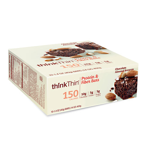 Think Products Think Thin Lean - Chocolate Almond Brownie - 10 Bars - 753656710945