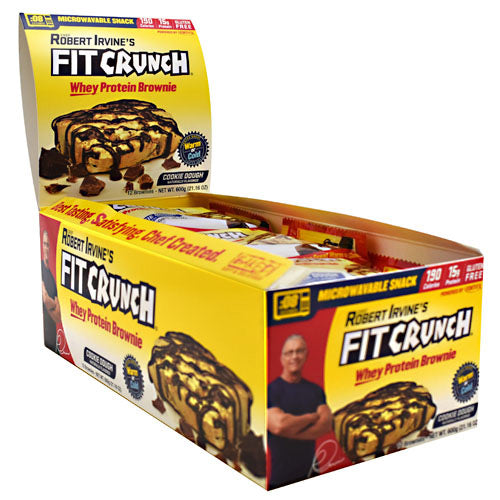 Fit Crunch Bars Whey Protein Brownie - Cookie Dough - 12 ea - 817719020058