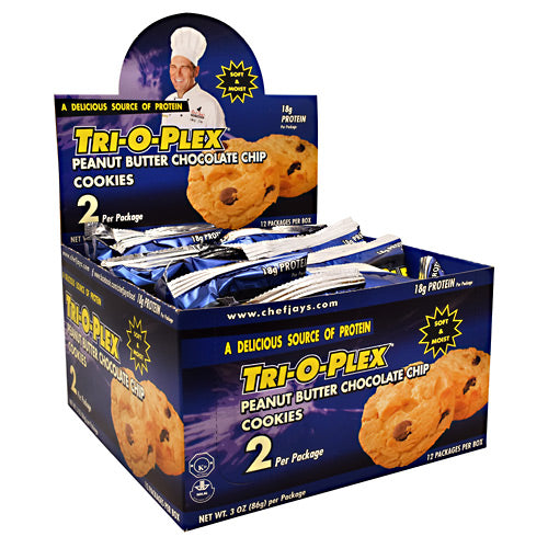 Chef Jays Tri-O-Plex Cookies - Peanut Butter Chocolate Chip - 12 Packages - 678991236106
