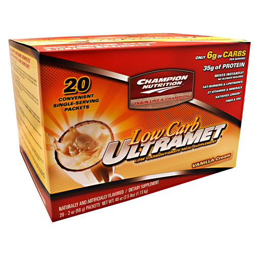 Champion Nutrition Low Carb Ultramet - Vanilla Cream - 20 Packets - 027692131904
