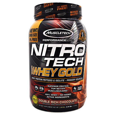 MuscleTech Performance Series Nitro Tech 100% Whey Gold - Double Rich Chocolate - 2.24 lb - 631656710458