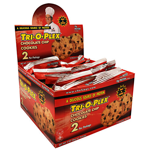 Chef Jays Tri-O-Plex Cookies - Chocolate Chip - 12 Packages - 678991334567