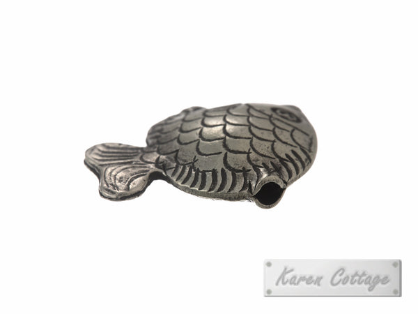 Karen Hill Tribe Silver Gold Fish Bead : B22-214