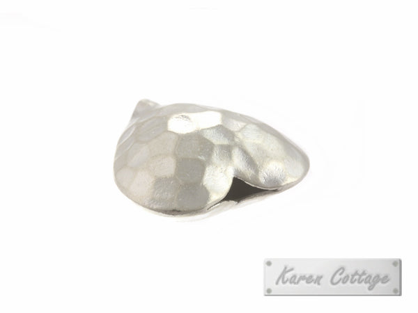 Karen Hill Tribe Silver Hammered Heart Bead : B31-005