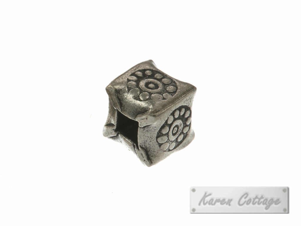 Karen Hill Tribe Silver Bullet Printed Square Bead : B32-005