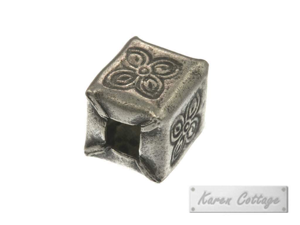 Karen Hill Tribe Silver Flower Printed Square Bead : B32-007