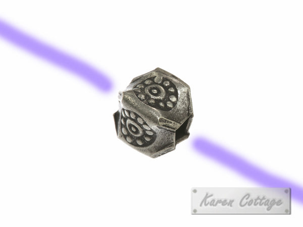 Karen Hill Tribe Silver Bullet Printed Square Pleat Bead : B32-008