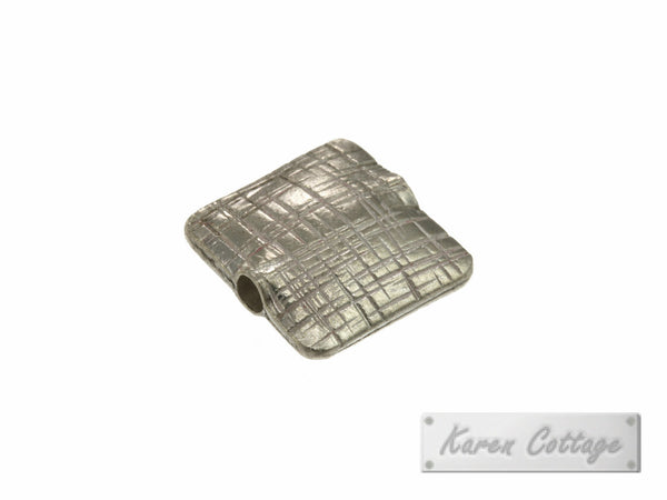 Karen Hill Tribe Silver Brushed Flat Square Bead : B32-108