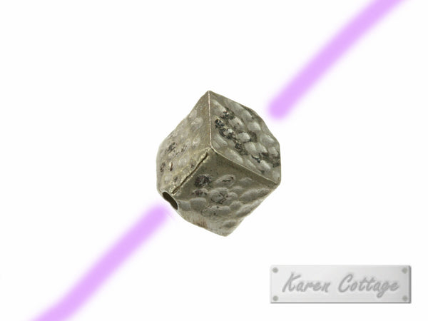 Karen Hill Tribe Silver Hammered Diagonal Cube Bead : B32-117