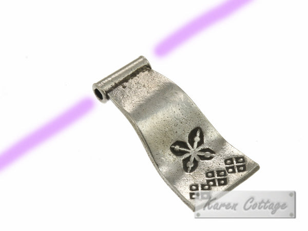 Karen Hill Tribe Silver Printed Rectangle Flag Bead : B32-207
