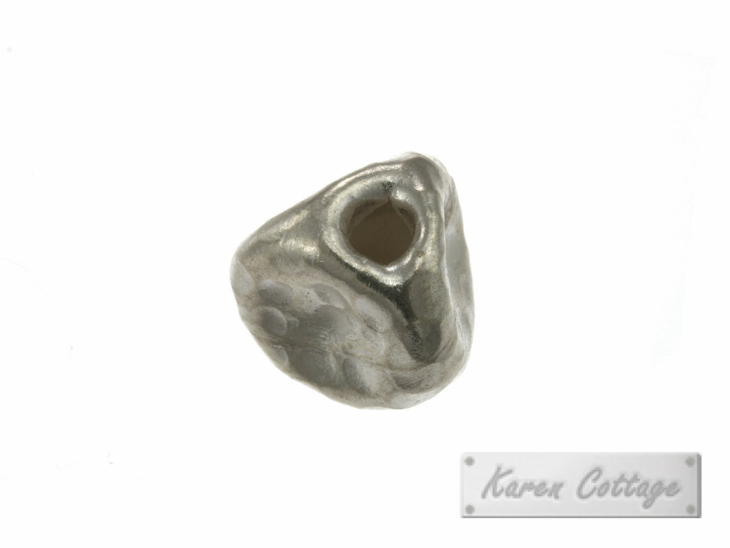 Karen Hill Tribe Silver Hammered Triple Face Bead : B32-212