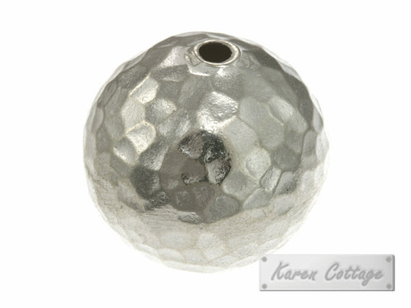 Karen Hill Tribe Silver Hammered Ball Bead : B33-006