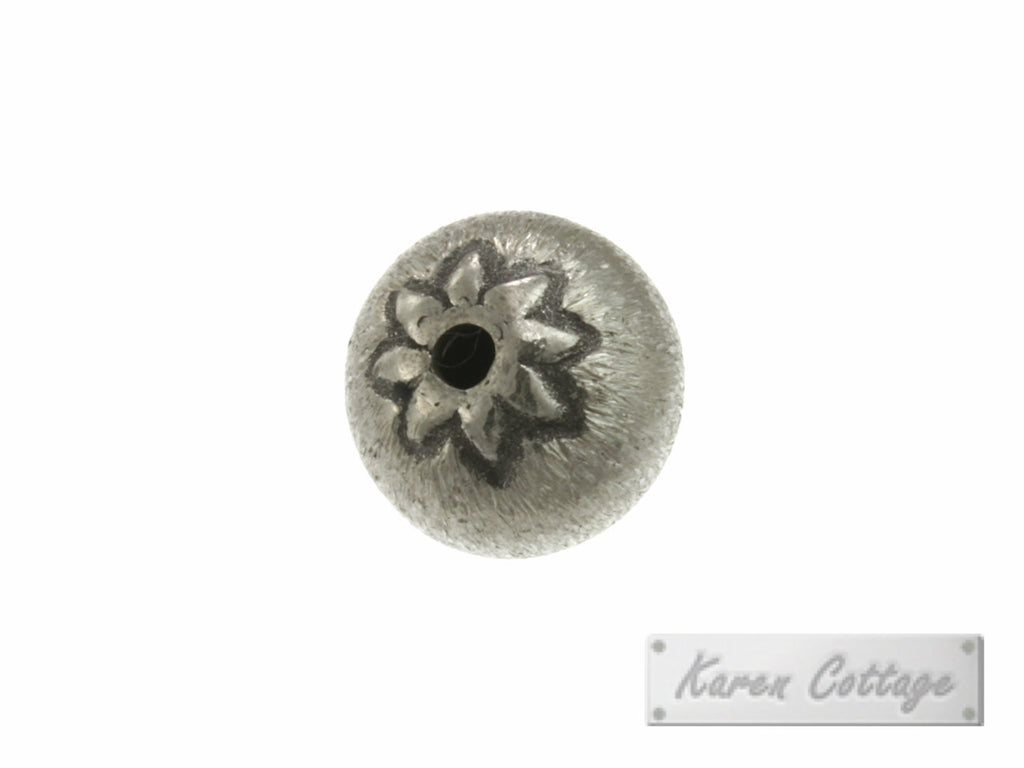 Karen Hill Tribe Silver Flower Printed Brushed Ball Bead : B33-018