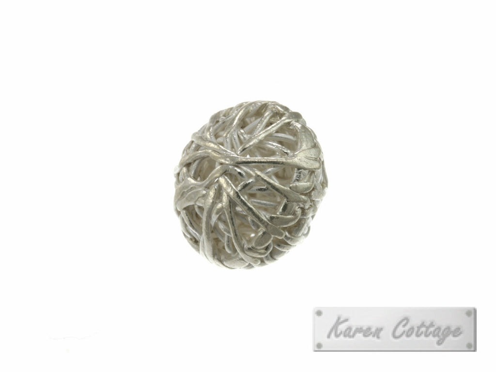Karen Hill Tribe Silver Nesting Wire Ball Bead : B33-024