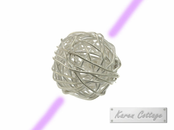 Karen Hill Tribe Silver Nesting Wire Ball Bead : B33-026