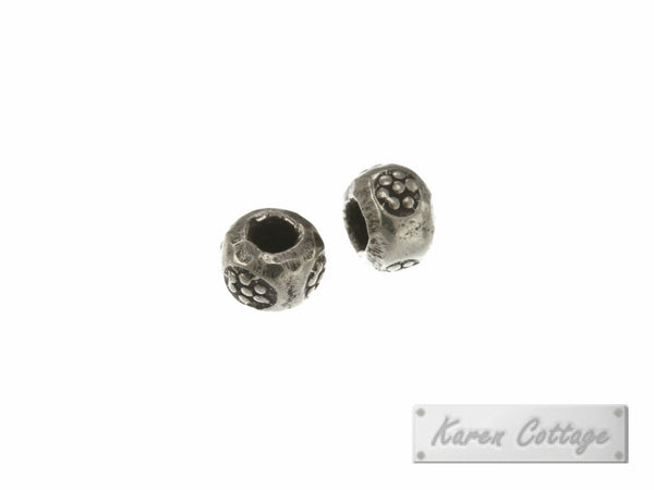 Karen Hill Tribe Silver Flower Printed Hallow Ball Bead : B33-103