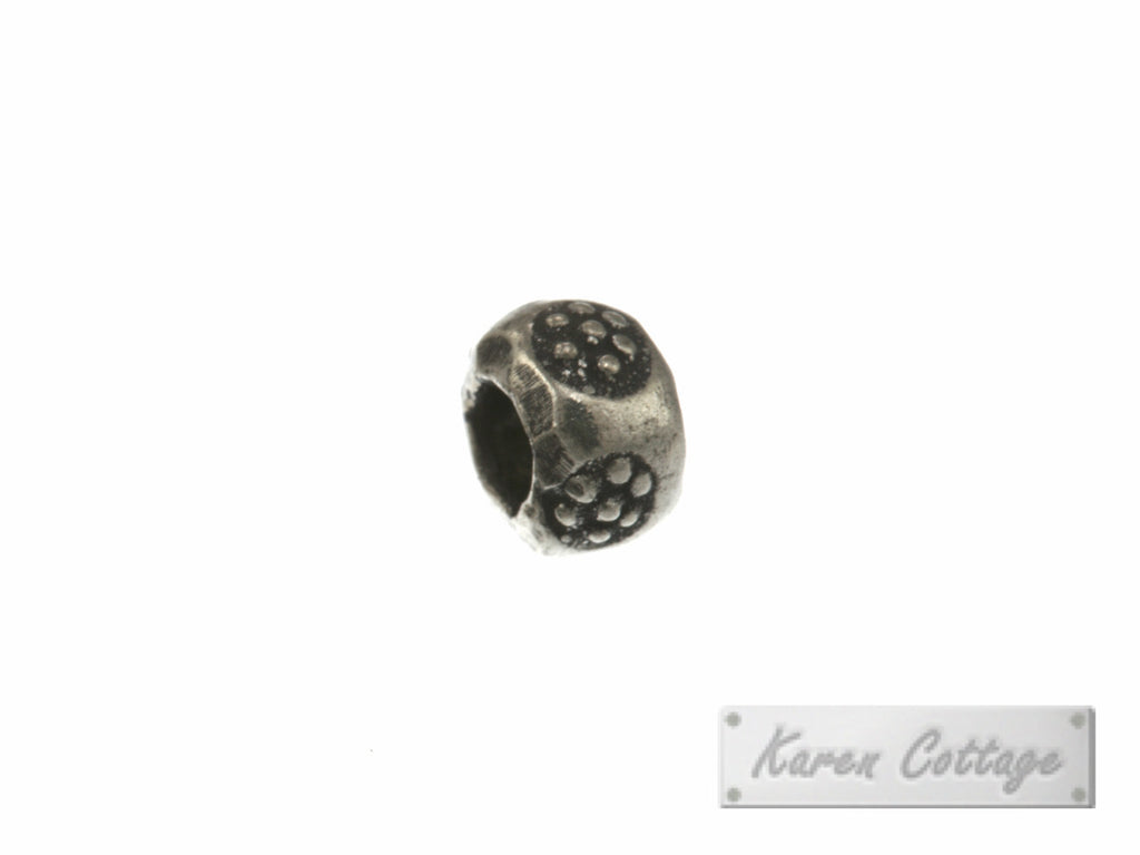 Karen Hill Tribe Silver Flower Printed Hallow Ball Bead : B33-104