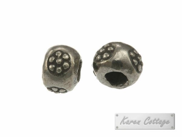 Karen Hill Tribe Silver Flower Printed Hallow Ball Bead : B33-105