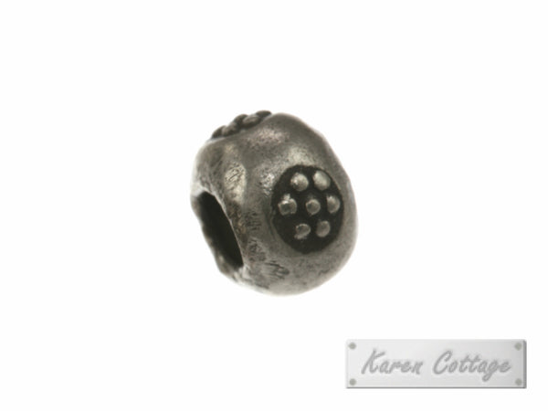 Karen Hill Tribe Silver Flower Printed Hallow Ball Bead : B33-106