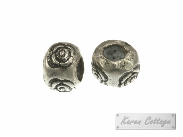 Karen Hill Tribe Silver Eye Printed Hallow Ball Bead : B33-110