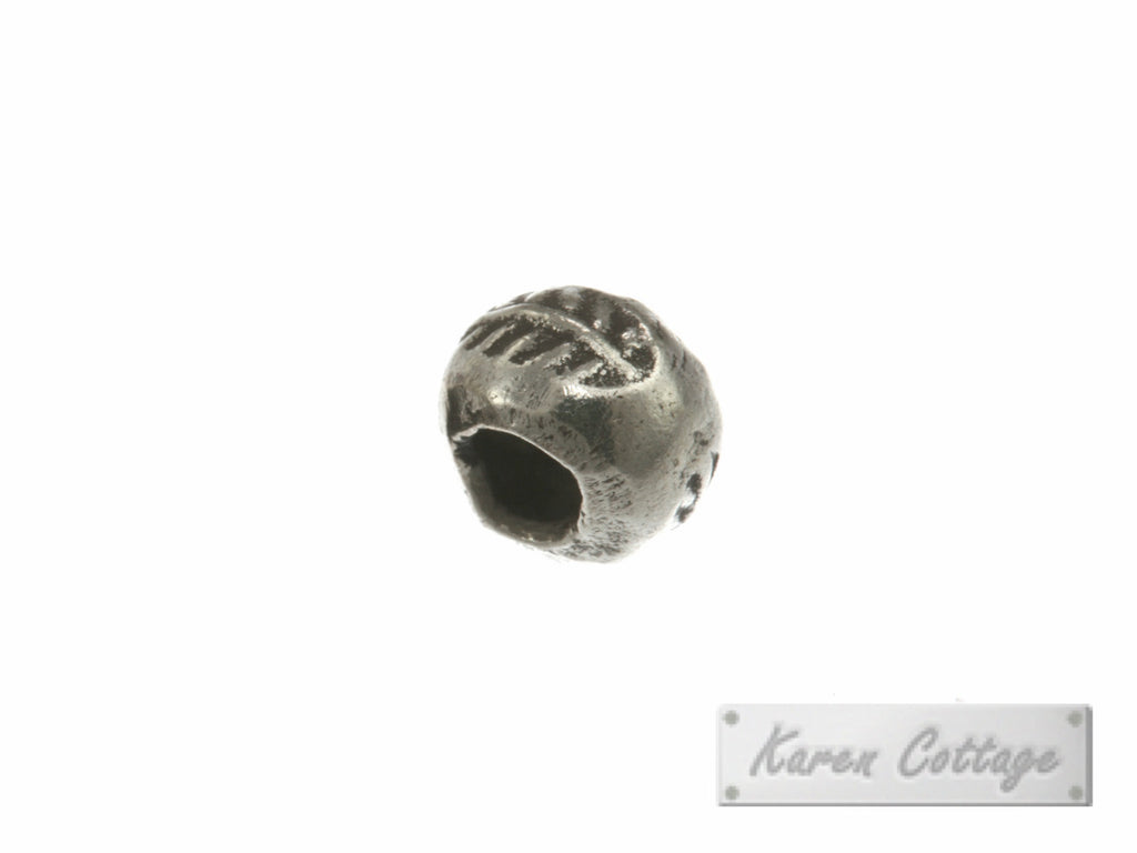 Karen Hill Tribe Silver Leaf Printed Hallow Ball Bead : B33-111