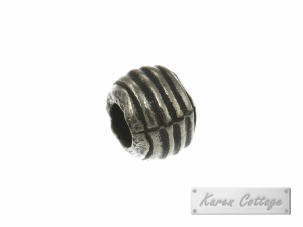 Karen Hill Tribe Silver Parellel Line Hallow Ball Bead : B33-112