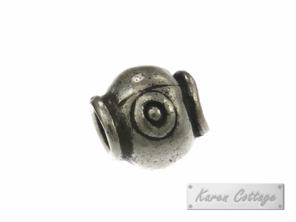 Karen Hill Tribe Silver Eye Printed Hallow Ball with Bar Bead : B33-117