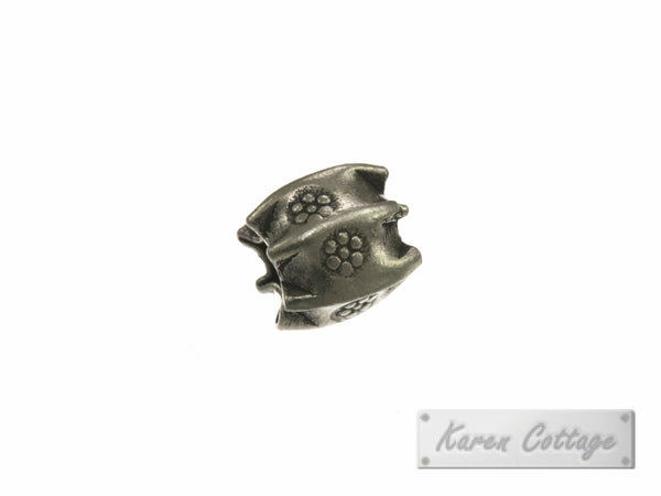 Karen Hill Tribe Silver Bullet Printed Tribal Pleat Prism Bead : B37-009