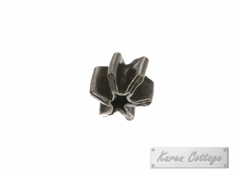 Karen Hill Tribe Silver 6-Ray Plain Tribal Pleat Bead : B37-013