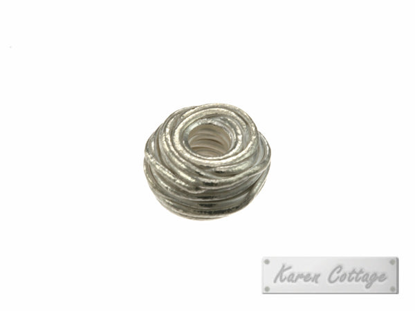 Karen Hill Tribe Silver Wire Cylinder Bead : B37-101