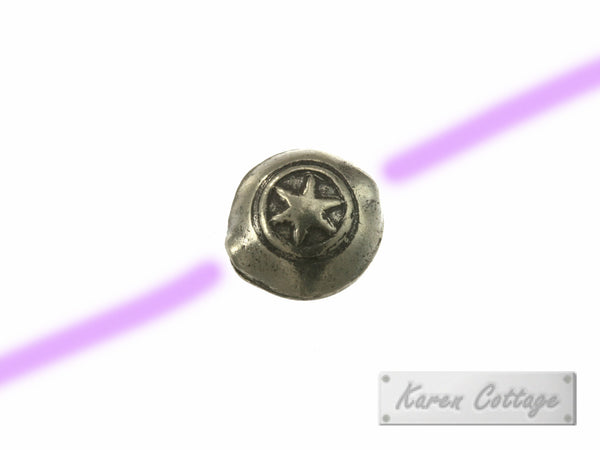 Karen Hill Tribe Silver 6-Ray-Star Round Disk Bead : B41-006