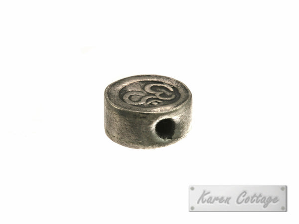 Karen Hill Tribe Silver OM Printed Disk Bead : B41-025