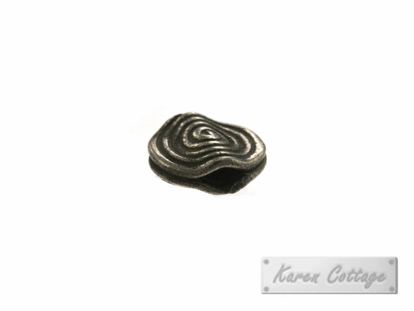 Karen Hill Tribe Silver Spiral Engrave Flat Disk Bead : B41-103
