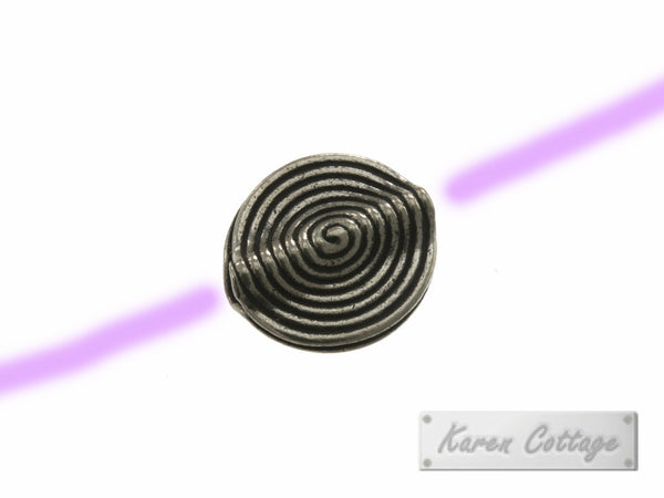Karen Hill Tribe Silver Spiral Engrave Flat Disk Bead : B41-104