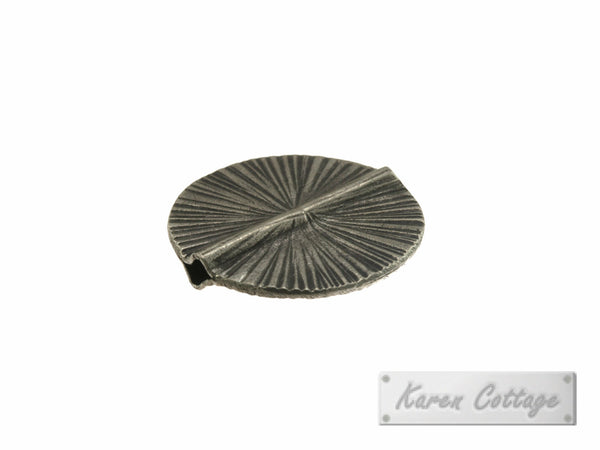 Karen Hill Tribe Silver Ray Engraved Flat Disk Bead : B41-110