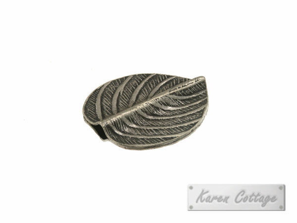 Karen Hill Tribe Silver Tribal Oval Leaf Disk Bead : B41-126