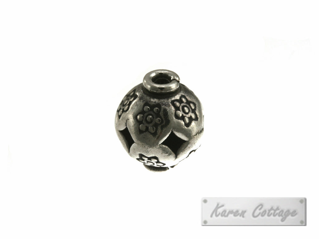 Karen Hill Tribe Silver Tribal Flower Printed Ball Bead : B42-014