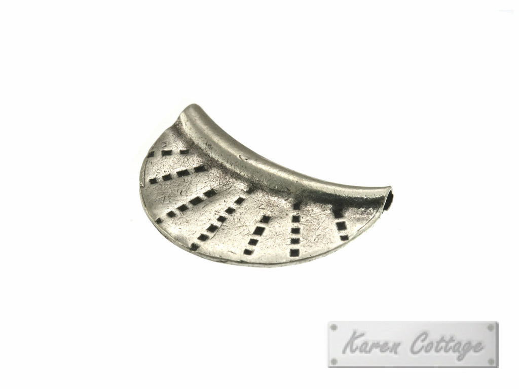 Karen Hill Tribe Silver Tribal Flat Arc Bead : B44-113